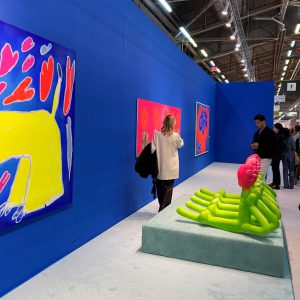 Installation view of the Jeffrey Deitch booth featuring work by Austin Lee. Photo: Nate Freeman