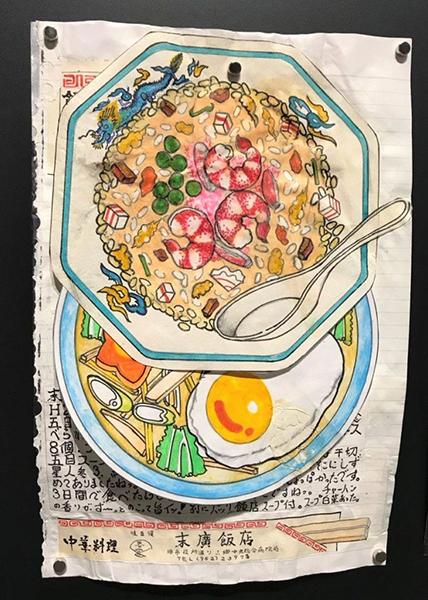 Work by Itsuo Kobayashi, who has been turning his every meal into art for 32 years. Photo courtesy of Kushino Terrace, Fukuyama, Japan.