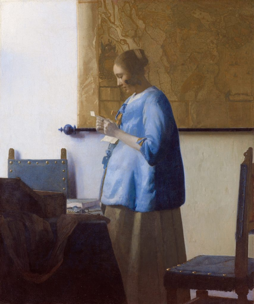 Johannes Vermeer, Woman in Blue Reading a Letter (1663–64). Courtesy of the Rijksmuseum Amsterdam.