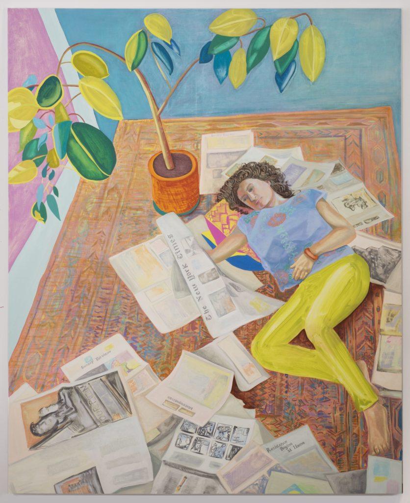 Aliza Nisenbaum, Kayhan reading the New York Times (Resistance Begins at Home) (2017). Courtesy the artist, Anton Kern Gallery, and Mary Mary. ©Aliza Nisenbaum.