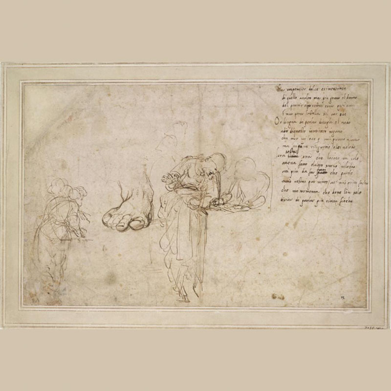 Raphael, Studies for the Disputation of the Holy Sacrament and a sonnet (c.1509-11).