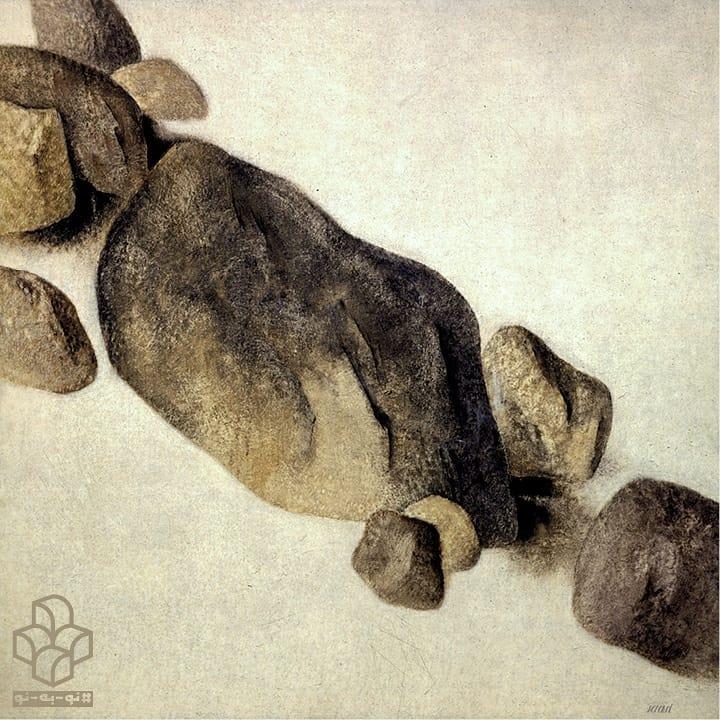 #نو_به_نو هر روز یک اثر از #گنجینه_موزه_هنرهای_معاصر_تهران | ۸ | اثر حاضر یکی از منحصربفردترین نقاشیهای #سهراب_سپهری از اواخر دهه ۴۰ به شمار میآید. بر خلاف مجموعهی «تنهی درختان»، او در اینجا چیدمانی مورب از تختسنگها و نمایشی از زمین را سوژهی اصلی کارش قرار داده است. ویژگی اصلی در این اثر، سبک شخصی هنرمند در طبیعتسازی است که گرایش وی را به تفکرات عرفان شرق دور و اندیشههای متاثر از فلسفهی ذن نشان میدهد. . . در این اثر با نمونهای ممتاز از تباینهای رنگی و کم شدن سایه روشنها، و تاکید بر فضاهای پر و خالی در ترکیببندی کارهای #سهراب مواجهیم که با کاربستی انتزاعی در پی ایجاد ماهیتی اثیری در تصویر است. او با بهکارگیری بیانی نمادین، آثاری بیمکان و بیزمان خلق کرد که اثر پیش رو تجربهای متفاوت از چنین رویکردی است. . در این دوره، سپهری عمق و دورنماسازی را کنار گذاشت و در نتیجه فضای آثارش پر شد از اشکال هندسی با بیانی انتزاعی و کمینهگرا؛ او جهانی را که میبیند به ما تحمیل میکند و میخواهد رابطی باشد میانِ طبیعتِ بیکران و لحظههای محبوس در تنهایی اطاقش و میکوشد تا پلی میان تصور و واقعیت بسازد. در اینجا حجمسنگها (با رنگهای گرم و تیره) که به صورتی نمادین مربعشکل بهنظر میرسند، نظم موجود در عناصر وابسته به زمین را به تصویر میکشد. سهراب همواره در نقاشیها و شعرهایش دغدغهی زمین را دارد. سپهری شاعری است که بهشکلی استادانه هر دو رسانهی «واژه» و «تصویر» را برای بیان مفاهیمی همسان، ایستا و پویا بهکار میگیرد؛ در معنای استعاری، او نقاشی نمیکشد، بلکه نقاشی را میسراید: با خود آوردم ز راهی دور سنگهای سخت و سنگین را برهنهپای . ( مرگ رنگ؛ بخشی از شعر «سراب») . . متن: #کیانوش_معتقدی گرافیک: #مهدی_فدوی عکس: #مهناز_صحاف . . سهراب سپهری (۱۳۵۹ - ۱۳۰۷) قلوه سنگها ۱۳۵۰ ش رنگ روغن روی بوم ۲۰۰ * ۲۰۰ سانتی متر مجموعهی #موزه_هنرهای_معاصر_تهران Sohrab Sepehri (Iranian,1928 - 1980) Rubbles Oil on canvas 200 x 200 cm 1972 The Collection of TMoCA