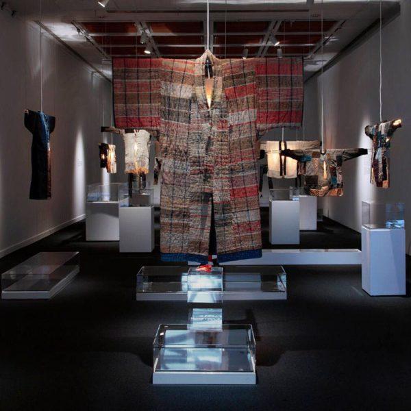 """Installation view, """"Boro Textiles."""