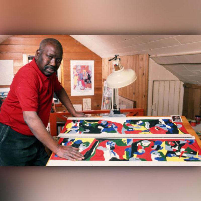Jacob Lawrence poses in his Seattle, Washington, studio
