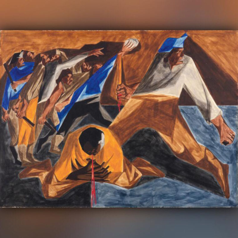 Jacob Lawrence, Panel 2. Massacre in Boston (1955).