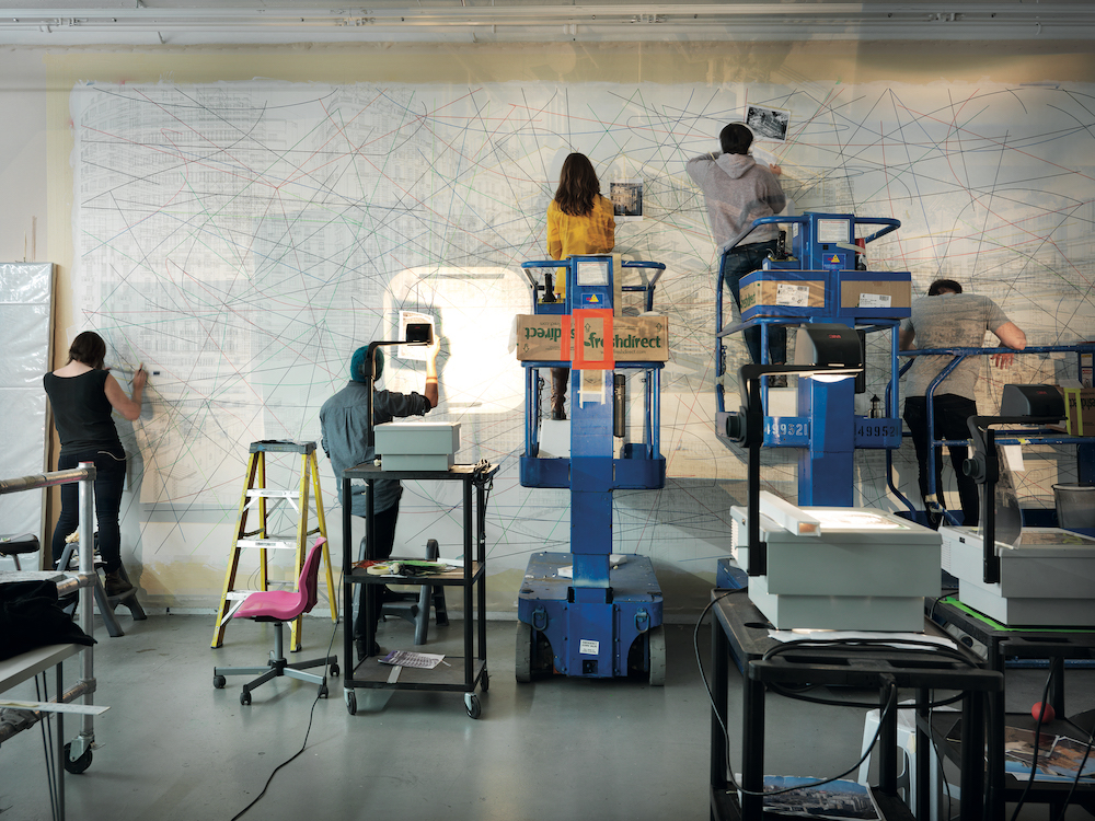 Julie Mehretu's New York studio, 2012. © Marco Anelli.