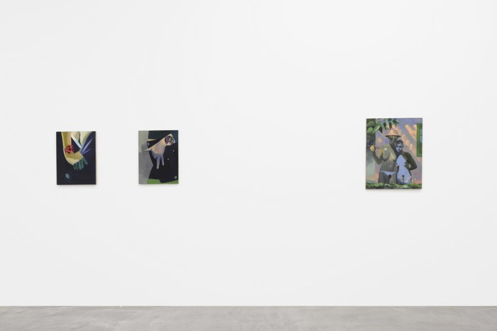 """Stephan Melzl: Helden, Grundanstrich"" at Nicolas Krupp Gallery. Photo: Serge Hasenböhler."