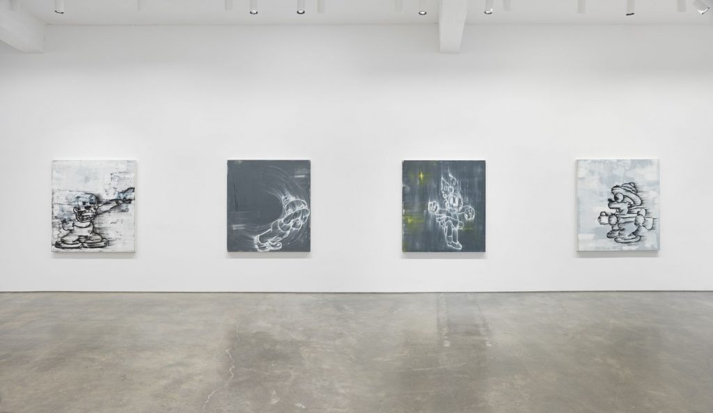 """Gary Simmons, """"Screaming into the Ether,"""" installation view, Metro Pictures, New York, 2020. Courtesy of Metro Pictures."""