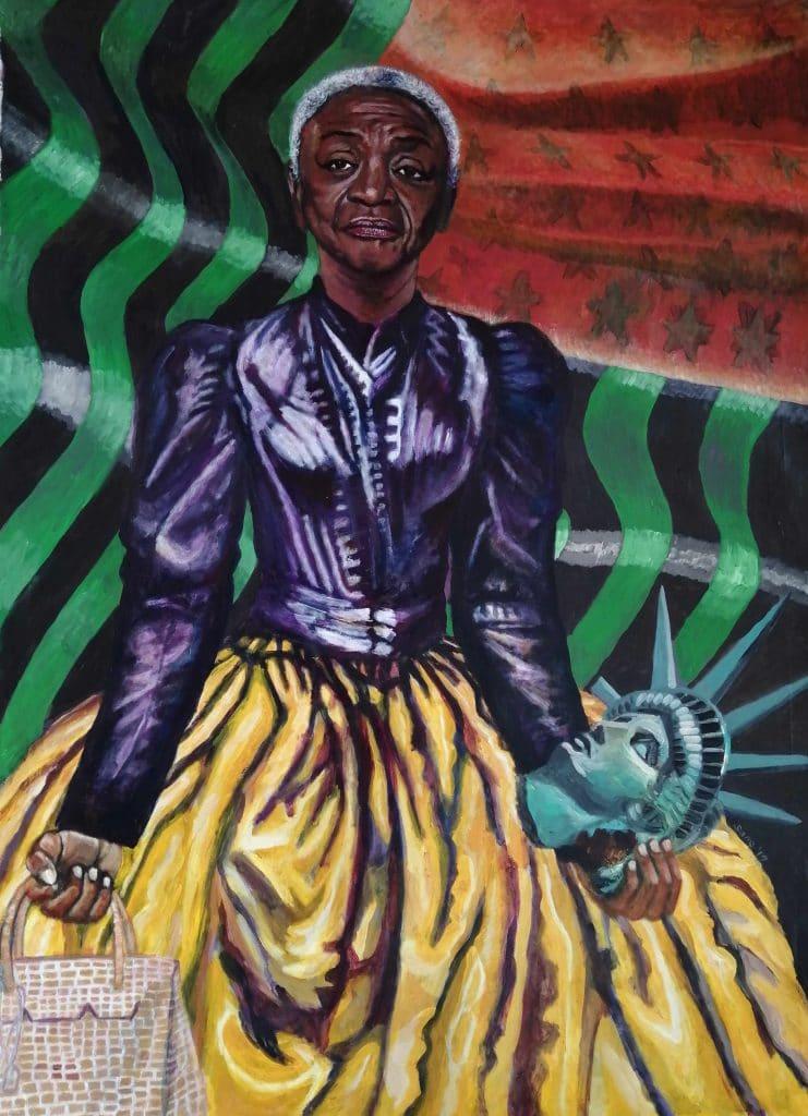 Eria Sane Nsubuga, Queen Faith (Ringgold) holding a Hermes Birkin bag and a head of Libertas (2019). Courtesy Afriart Gallery.
