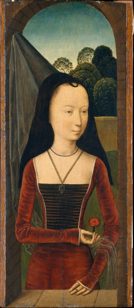 Hans Memling, Young Woman with a Pink (circa 1485–90). Courtesy of the Metropolitan Museum of Art.