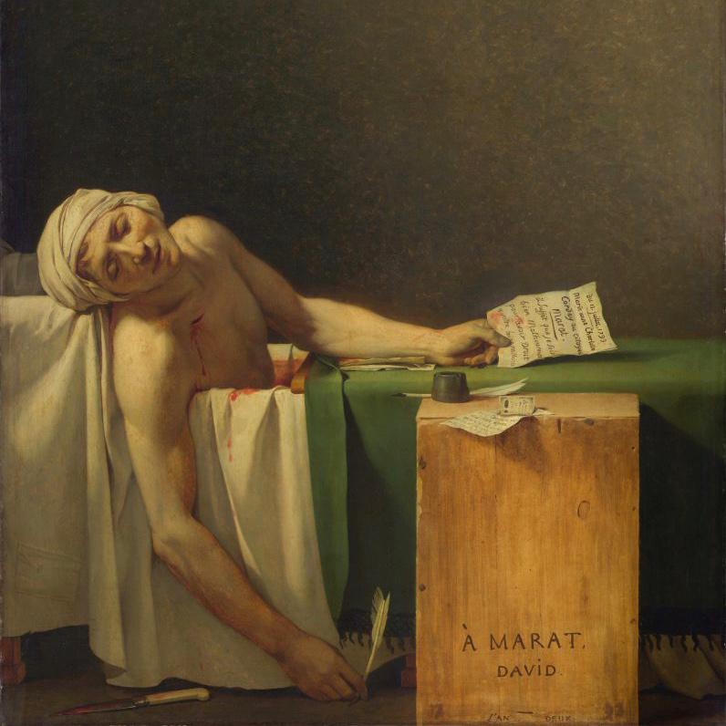 ‎Jacques-Louis David, Death of Marat (1793). Collection of Royal Museums of Fine Arts of Belgium.