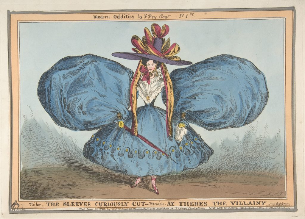 William Heath ('Paul Pry'), Modern Oddities: The Sleeves Curiously Cut, Ay There's the Villainy – vide Shakespeare (June 30, 1829). Courtesy of the Metropolitan Museum of Art.