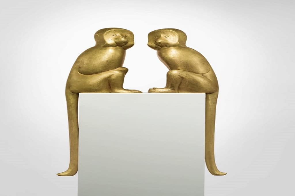 Two gilt bronze monkeys by Francois-Xavier. Courtesy of Sotheby's.