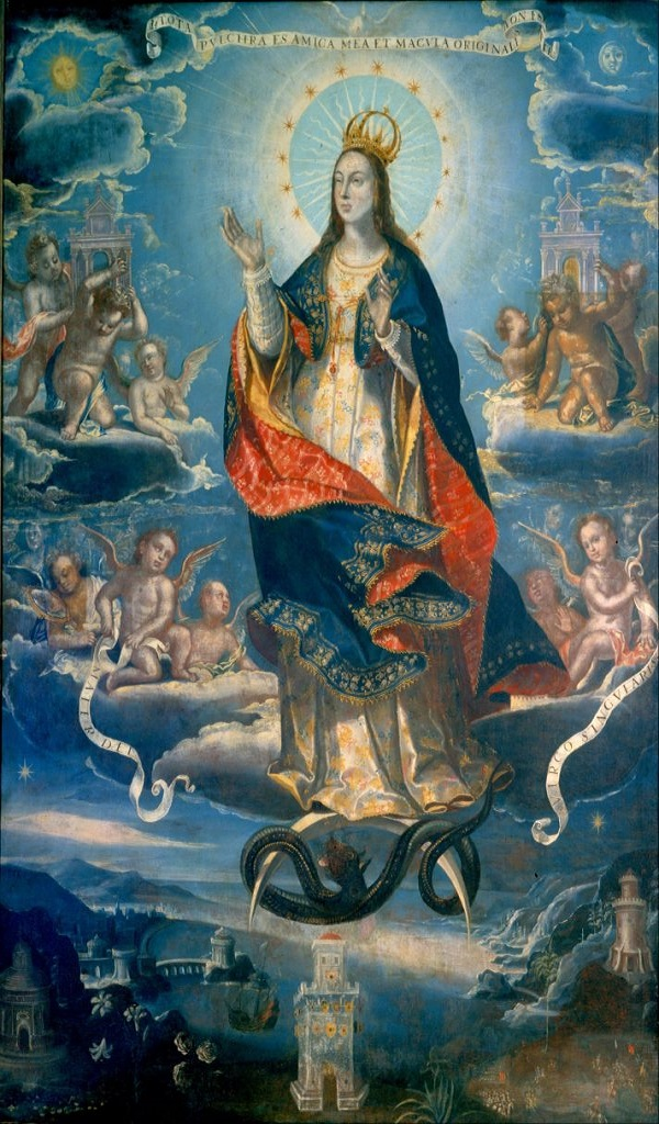 Baltasar de Echave Ibia, The Immaculate Conception. Painting in Mexico, the artist had access to Maya Blue, allowing him to use a color that was prohibitively expensive in Europe. Courtesy of the Museo Nacional de Arte de Mexico.