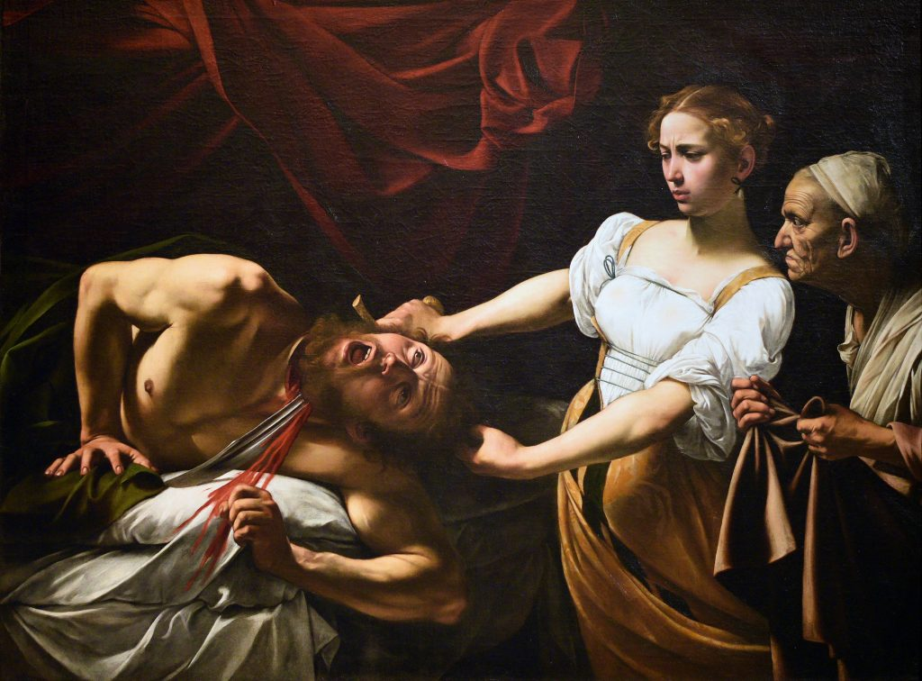 Caravaggio, Judith Beheading Holofernes (ca. 1598–1599 or 1602). Collection of the Galleria Nazionale d'Arte Antica at Palazzo Barberini, Rome.