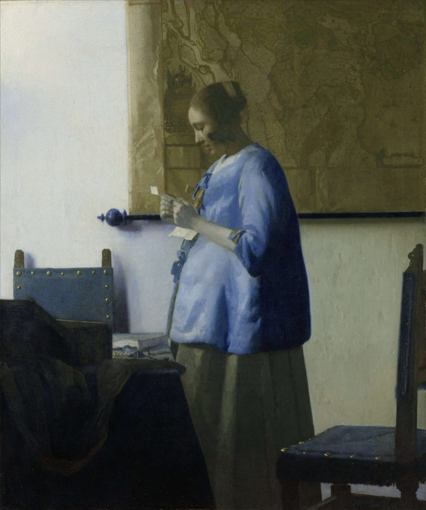 Johannes Vermeer, Woman in Blue Reading a Letter (1663).