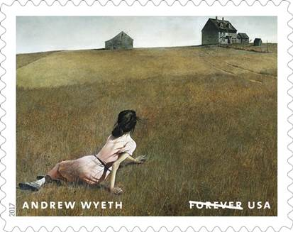 The Andrew Wyeth Forever stamp of Christina's World.