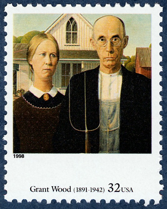 Grant Wood, American Gothic. ©United States Postal Service